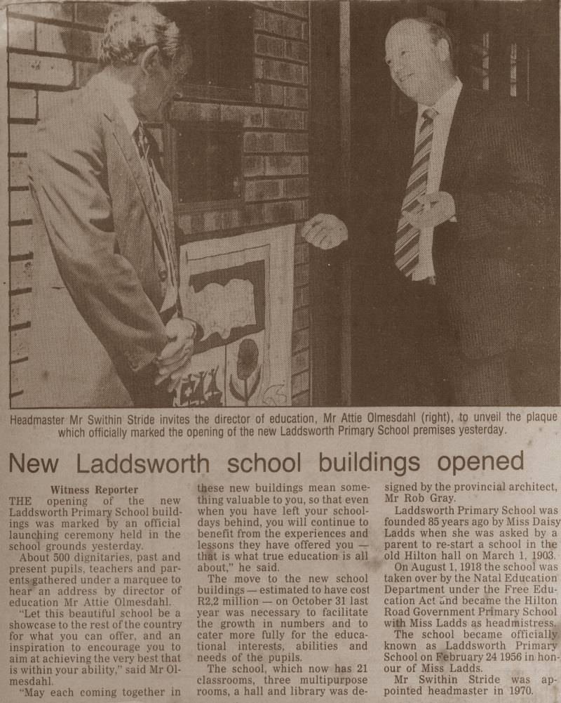 Laddsworth Opening of New School Buildings-1st March 1989